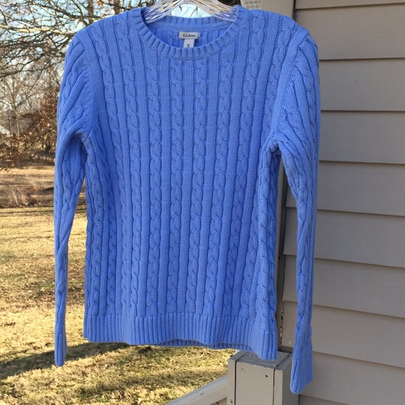 fcde1a1db09 L.L. Bean Light Blue Cable Knit Sweater
